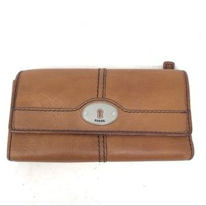 Fossil Marlow Brown Leather Trifold Clutch Wallet